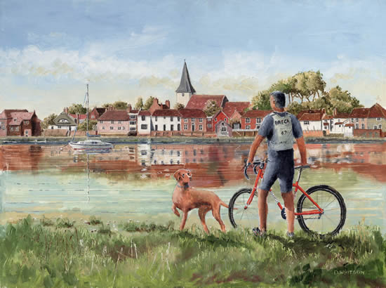 Cyclist with his dog at Bosham West Sussex Art Prints