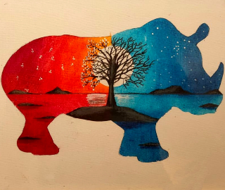 Day and Night Rhino - Art by Contemporary Artist Andy Tardif - Commissions Invited