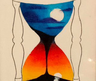 Face Moon Sand Timer Contemporary Artist Andy Tardif - from Hailsham, East Sussex