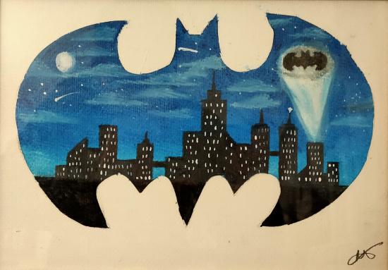 Gotham City - Batman Painting - Hailsham, East Sussex Artist Andy Tardif