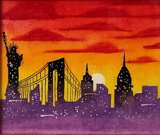New York Skyline - Statue of Liberty - Art by Hailsham East Sussex Contemporary Artist Andy Tardif