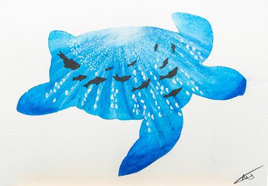 Underwater Blue Turtle - Original Oil Painting - Prints various sizes - Hailsham, East Sussex Artist Andy Tardif