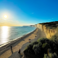 Birling Gap Sunset – Art Prints of Beauty Spot  – Grassy Cliffs and Beach House – Seaford East Sussex