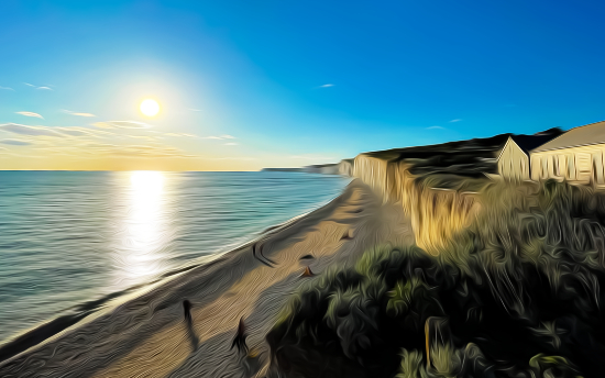 Birling Gap Sunset - Grassy Cliffs and Beach House - Seaford Digital Artist Sam Taylor