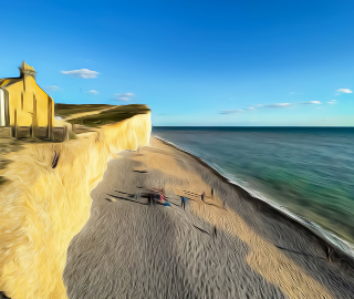 Cliff and Beach View - Sam Taylor Digital Artist