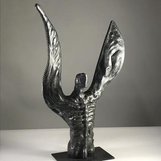 Contemporary Bronze Sculpture - The Winged Man - Thakeham West Sussex Sculptor Steve Bicknell