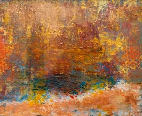 Essence of Spring - Abstract Painting - Cold wax and oil mixed-media - Contemporary Artist Amanda Mavin