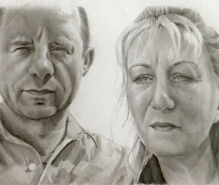 Fathers Day Portrait Gift - Dial Post near Horsham West Sussex Artist Lizzy Montague