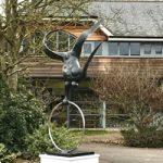 Garden Bronze Sculpture – The Flying Man – Contemporary Sussex Sculptor Steve Bicknell