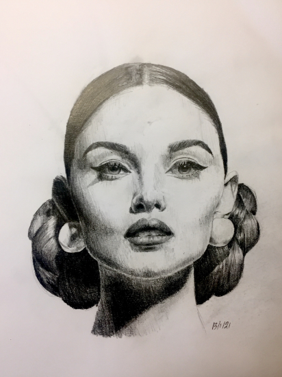 Graphite Pencil Portrait - Vintage - Portrait Artist Lizzy Montague