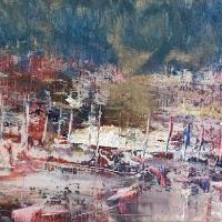 Harbour - Abstract Art -Cold Wax and Oils - Bedlington, Northumberland Artist Amanda Mavin