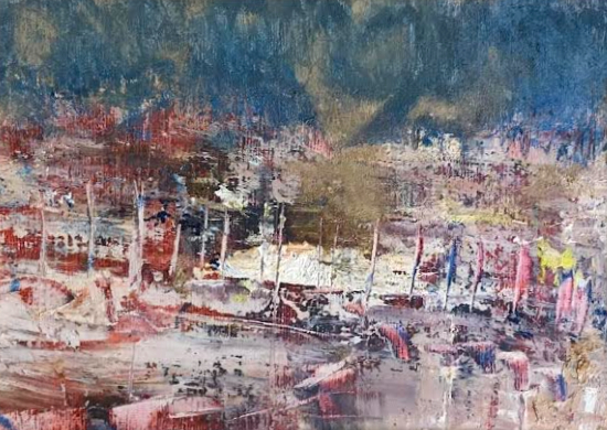 Harbour - Abstract - Cold Wax and Oil Original Painting and Prints Available - Artist Amanda Mavin