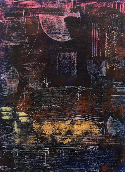 Moonscape - Abstract Painting in Cold Wax and Oil - Bedlington Artist Amanda Mavin