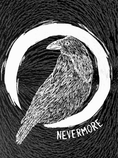 Nevermore Raven inspired by Edgar Allen Poe's poem - Battle East Sussex Artist Frankie Lüschitz