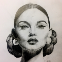 Beautiful Woman Graphite Pencil Portrait Art – Vintage – Portrait Artist Lizzy Montague