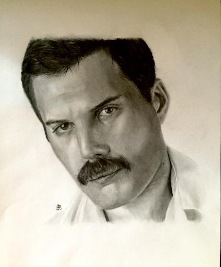 Portrait Freddie Mercury of Queen - Graphite Pencil Drawing - Horsham Sussex Artist Lizzy Montague
