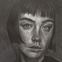 Portrait – Girl with Fringe – Graphite Pencil Artist – Plymouth College of Art Student Lizzy Montague