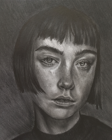 Portrait - Girl with Fringe - Graphite Pencil Artist - Plymouth College of Art Student Lizzy Montague