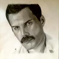Portrait of Freddie Mercury - Queen - Graphite Pencil Drawing - Dial Post Sussex Artist Lizzy Montague