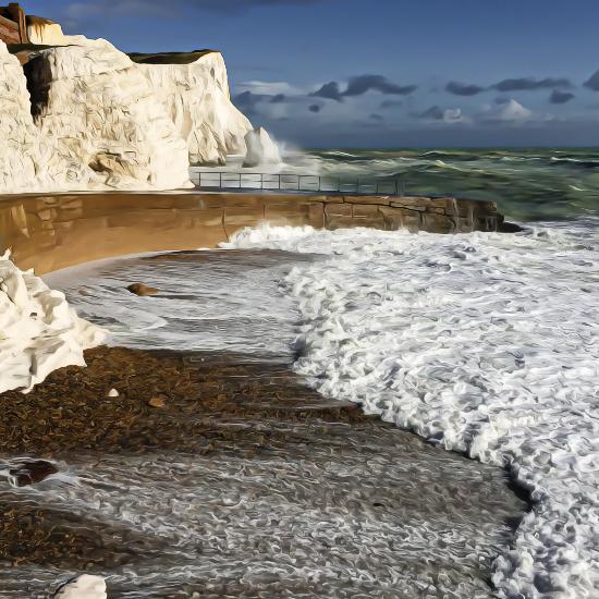 SplashPoint Waves - Shingle Beach and Cliffs - Seaford East Sussex Digital Artist Sam Taylor