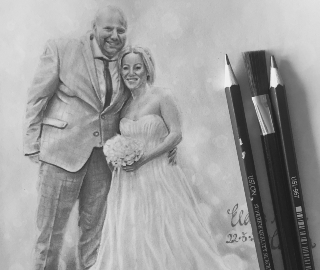 Wedding Couple Portrait - Plymouth College of Art Student Lizzy Montague from Sussex