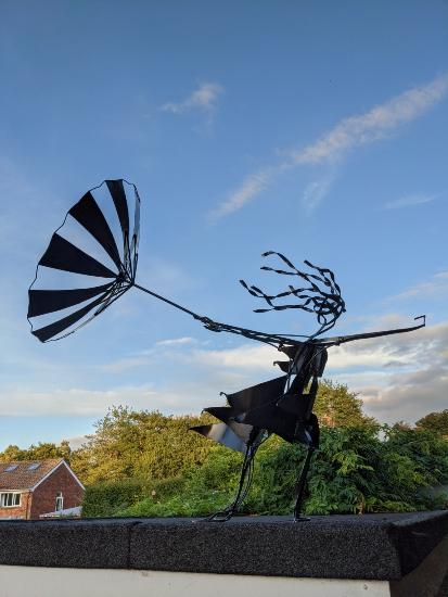 Girl with Umbrella Painted Steel Sculpture - Pulborough Sculptor Željko Ivanković