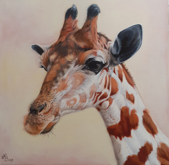 Giraffe Oil Painting - Mayfield East Sussex Animal and Wildlife Artist Nathalie Bos