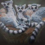 Lemurs Oil Painting – Crowborough Arts member Nathalie Bos